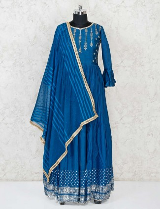 Cotton silk blue floor length anarkali salwar suit