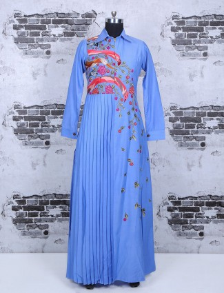 Cotton silk blue gown
