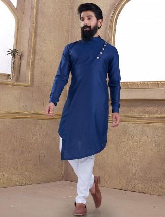 Cotton silk blue plain kurta suit