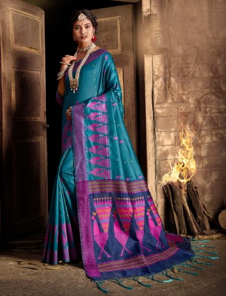 Cotton silk blue saree for wedding