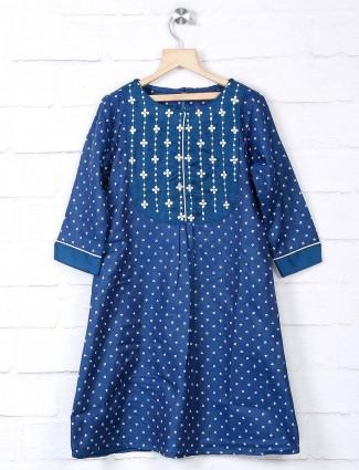 Cotton silk blue tunic