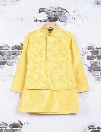 Cotton silk bright yellow waistcoat set