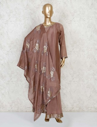 Cotton silk brown sharara suit for festivals