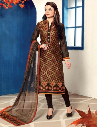 Cotton silk churidar salwar suit in black