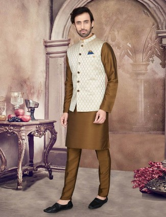 Cotton silk cream and olive party wear waistcoat set