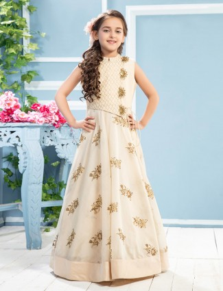 Cotton silk cream color designer girls gown