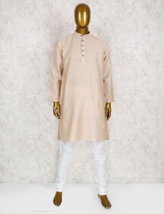 Cotton silk cream hue kurta suit
