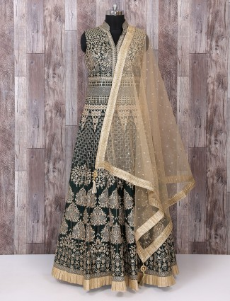 Cotton silk dark green anarkali suit