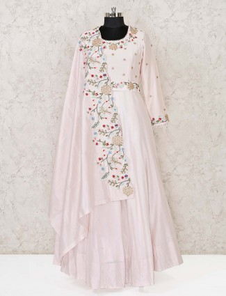 Cotton silk designer baby pink anarkali suit