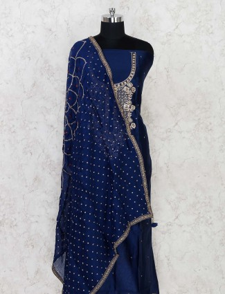 Cotton silk dress material in navy blue