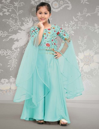 Cotton silk fabric aqua punjabi palazzo suit