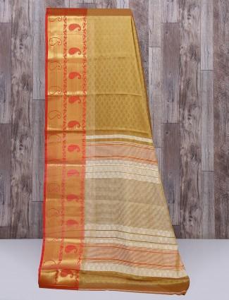Cotton silk fabric brown color saree