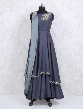 Cotton silk fabric grey color designer salwar suit
