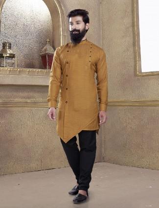 Cotton silk fabric mustard yellow kurta suit