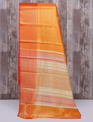 Cotton silk fabric orange saree