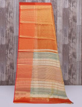 Cotton silk fabric red graceful saree