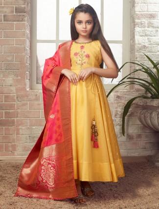 Cotton silk fabric yellow hued anarkali suit