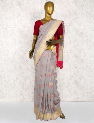 Cotton silk festive saree in grey color