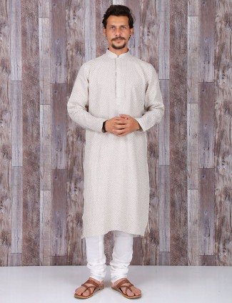 Cotton silk festive wear kurta in cream color