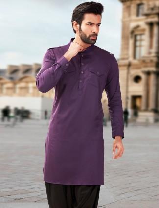 Cotton silk festive wear pathani suit in purple color