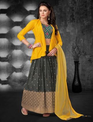 Cotton silk festive wear yellow lehenga choli
