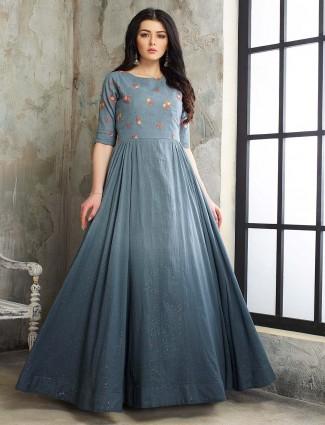 Cotton silk floor length anarkali pakistani salwar suit in grey