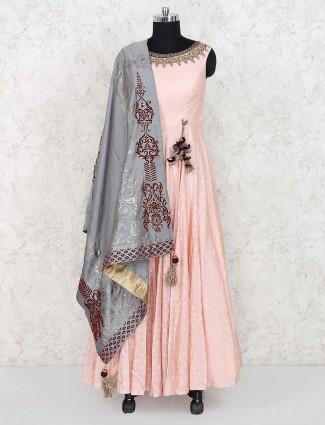 Cotton silk floor length anarkali salwar suit in peach color