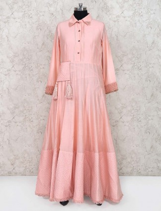 Cotton silk floor length anarkali salwar suit in pink