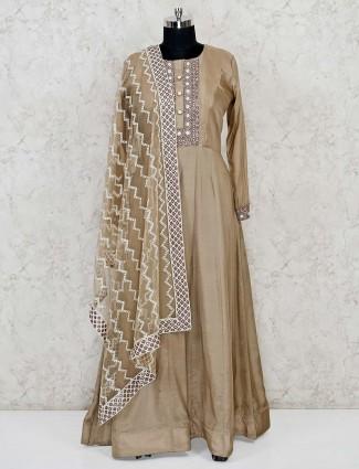 Cotton silk floor length anarkali suit in brown