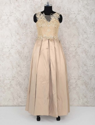 Cotton silk gown in beige color