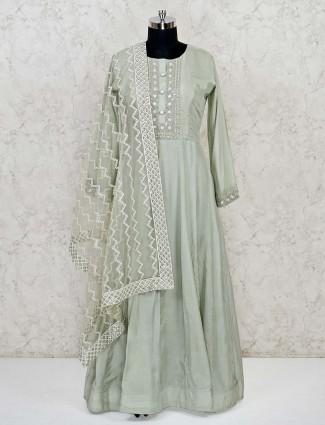 Cotton silk green round neck anarkali suit
