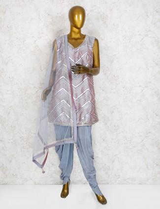 Cotton silk grey color punjabi dhoti suit