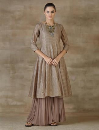 Cotton Silk Grey Designer Party Wear Salwar Kameez