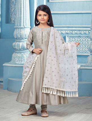 Cotton silk grey hue festive function anarkali suit