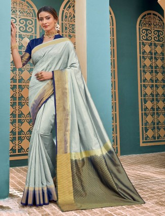 Cotton silk grey saree festivals wear