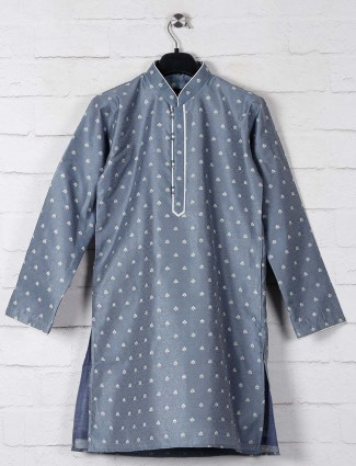 Cotton silk kurta suit in grey