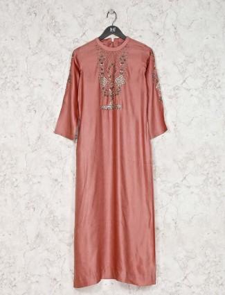 Cotton silk kurti in peach for party