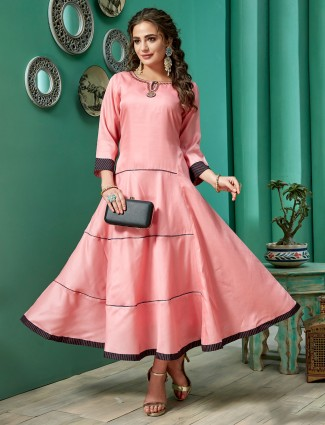 Cotton silk kurti in rose pink for festive
