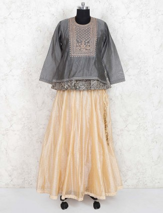 Cotton silk lehenga choli in grey hue