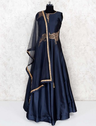 Cotton silk lovely floor length gown in grey color