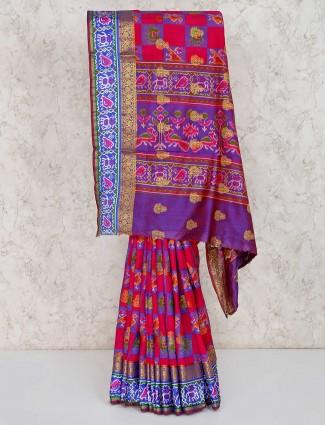 Cotton silk magenta patola printed saree