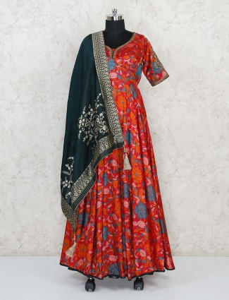 Cotton silk maroon floor length printed anarkali suit