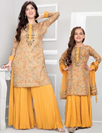 Cotton mustard yellow mother daughter palazzo suit
