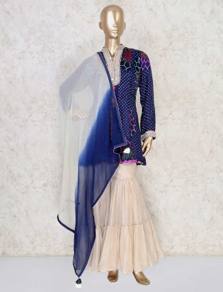Cotton silk navy blue bandhej sharara suit