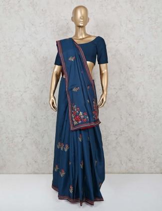 Cotton silk navy festive function saree