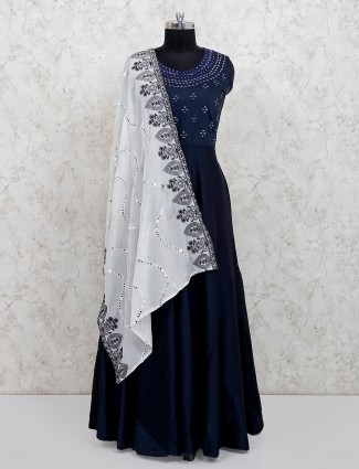 Cotton silk navy floor length anarkali suit for festive
