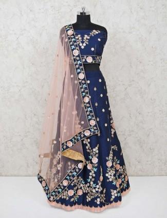 Cotton silk navy semi stitched lehenga choli