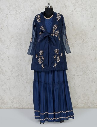 Cotton silk navy wedding indo western lehenga suit