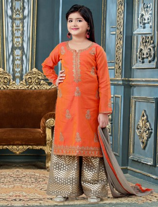 Cotton silk orange color designer palazzo suit