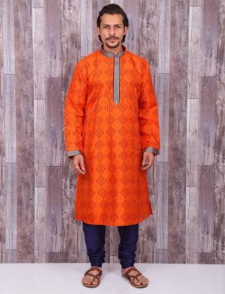 Cotton silk orange color kurta suit